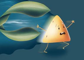 原创手绘插画卡通形象端午节粽子设计元素