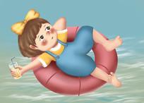 原创手绘插画夏日六一儿童节游泳元素