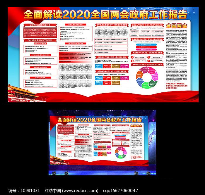 解读2020全国两会政府工作报告内容展板