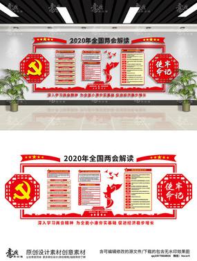 两会党建文化墙两会解读红色文化墙