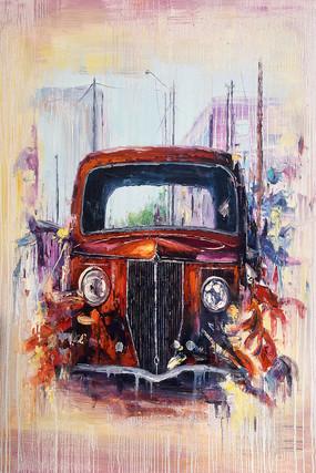 纯手绘手工汽车卡通油画图