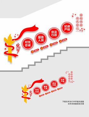 党员活动室楼梯党建文化墙