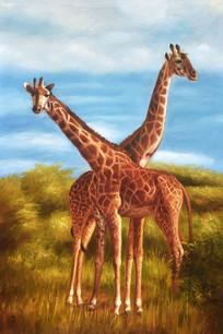 高清卡通长颈鹿油画图