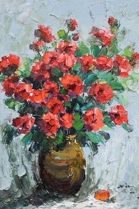 高清手绘花开富贵花瓶油画图