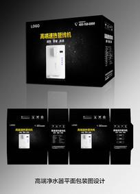 黑色高端净水器包装盒设计