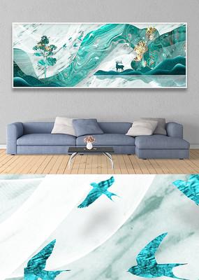新中式麋鹿线条风景床头横幅装饰画