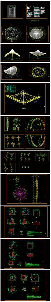 精品园林景观张拉膜全套CAD施工图