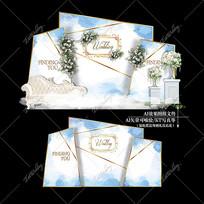 白蓝色主题大理石婚礼效果图设计婚庆迎宾区