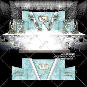 蒂芙尼蓝大理石婚礼效果图设计婚庆舞台背景