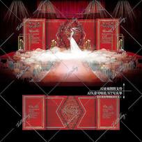 红金色大理石婚礼效果图设计玫瑰婚庆背景