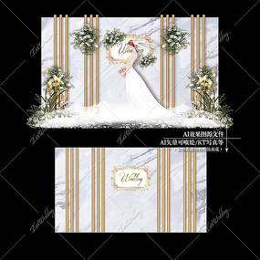 蓝灰色大理石主题婚礼效果图设计婚庆背景