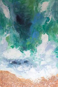 水彩海洋沙滩石子玄关装饰画