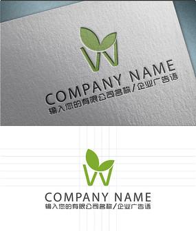 w字母农业logo标志