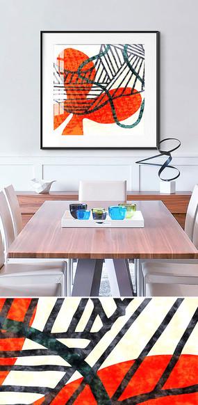 北欧抽象简约手绘客厅餐厅装饰画