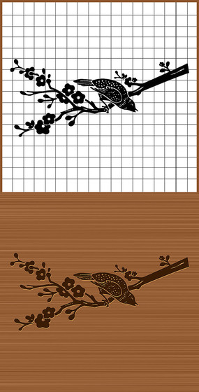 梅花枝上喜鹊鸟矢量雕刻素材