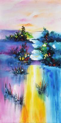 手绘抽象山水意境油画图