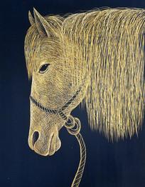 手绘金色马头油画无框画