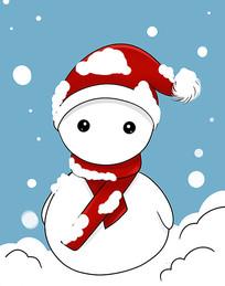 原创可爱卡通带红色圣诞帽雪地雪人