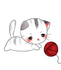 原创手绘可爱卡通动物毛线猫