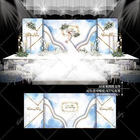 白蓝色水彩主题婚礼效果图设计婚庆舞台背景