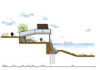 滨水公园景观河道眺台素材断面图