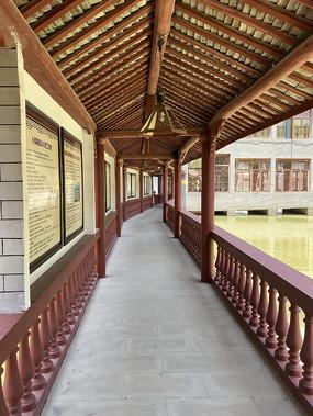 长廊 廊亭意向图 水面长廊 木栏杆古建