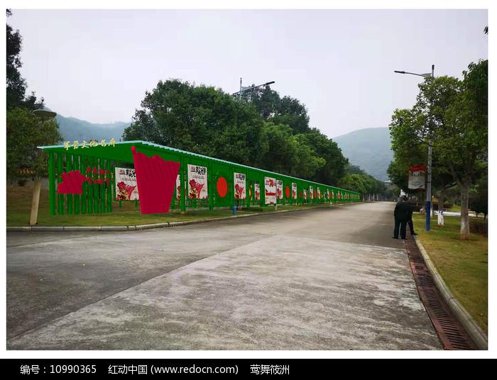 红色主题防腐木文化长廊图片