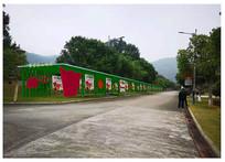 红色主题防腐木文化长廊