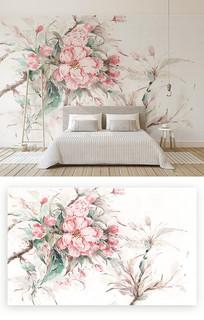 粉色水彩樱花叶子电视背景墙
