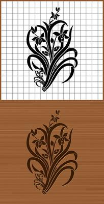 君子之花兰花矢量雕刻图案素材