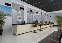 现代银行大厅3D模型