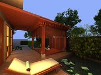现代中式庭院3D模型