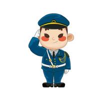 原创卡通敬礼的海军