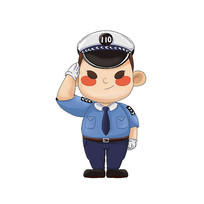 原创卡通敬礼的警察