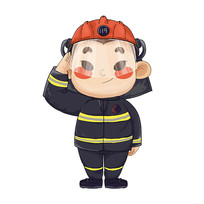 原创卡通敬礼的消防兵