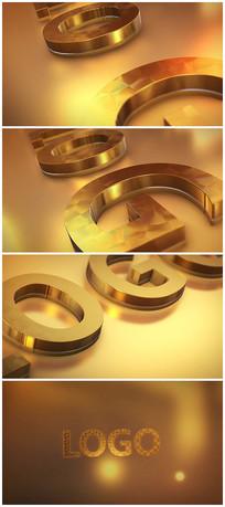 震撼E3D金色logo片头视频模板