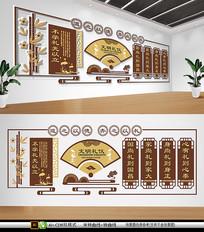 中式学校文明礼仪文化国学文化墙