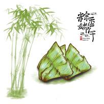端午水墨清爽翠竹粽子元素