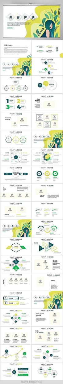 绿色小清新美容护肤动态PPT模板