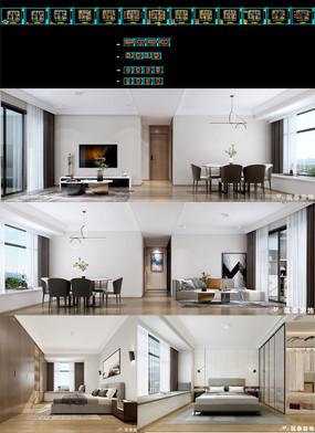 现代极简cad室内施工图效果图