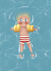 原创手绘插画夏日小朋友游泳泳池元素