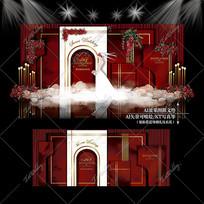 红白色泰式婚礼大理石婚庆背景板