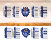蓝色警队警营文化墙