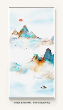 新中式水墨画山水装饰画抽象玄关