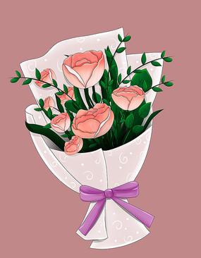 原创手绘鲜花玫瑰花束