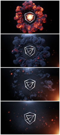 震撼烟雾出logo视频模板