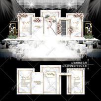 白金色大理石婚礼效果图设计浪漫婚庆背景