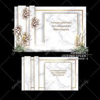大理石婚礼白绿色婚庆迎宾区背景板
