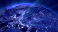 地球转动蓝色光线视频素材