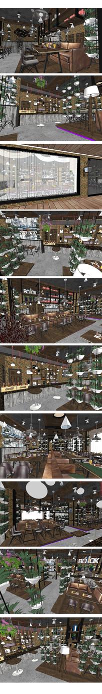 工业风主题餐厅SU模型